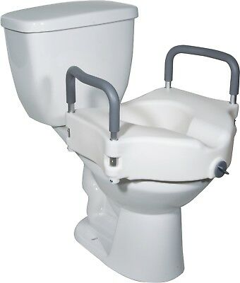 Drive Medical Raised Toilet Seat w Removable Arms & Locking Mechanism RTL12027RA
