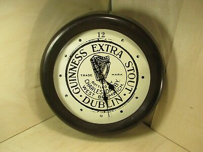 Guinness Extra Stout Dublin Wall Clock Metal & Glass Tested Works