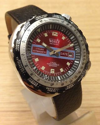 Very Rare BOHLE 17 jewels  WORLDTOUR TIME  Red  dial  NOS   🚚 FAST & FREE