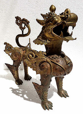 Tibetan or Nepalese old and large bronze Foo dog or guardian lion