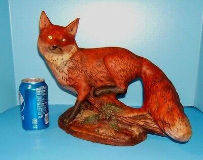 "Vintage Fox Figurine Statue 14"" Large Ceramic Bisque Red Fox On Log"