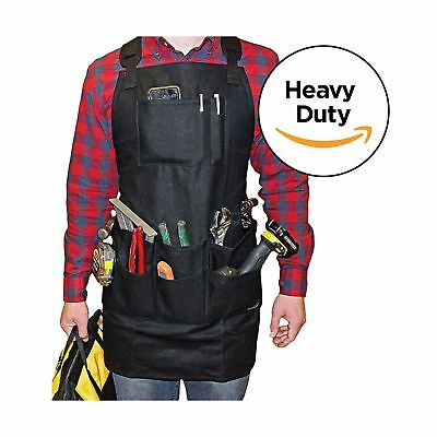 Smith Forge Heavy Duty Waxed Canvas Work-Shop-Tool-Barbecue Apron (Black) Black