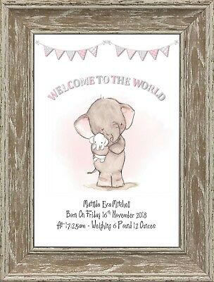 Personalised Elephant Nursery Picture Print A4 Newborn Baby Christening Gift
