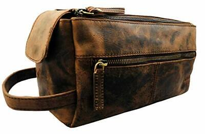 a5a593b29b38 Vintage Leather Canvas Travel Toiletry Bag Shaving Dopp Kit Men Shaving Case