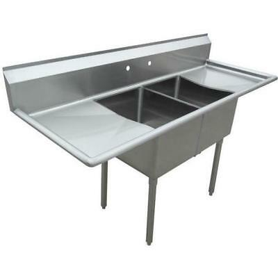 """Stainless Steel 2 Compartment Sink 80"""" x 26"""" with 2 20"""" Drainboards"""