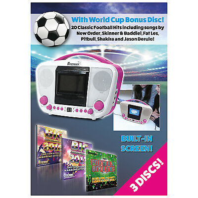 """Mr Entertainer Portable CDG Bluetooth Karaoke Player with built in 3.5"""" monitor,"""