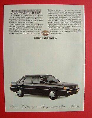 1986 Audi 4000S Sedan - The Art of Engineering. Color AD