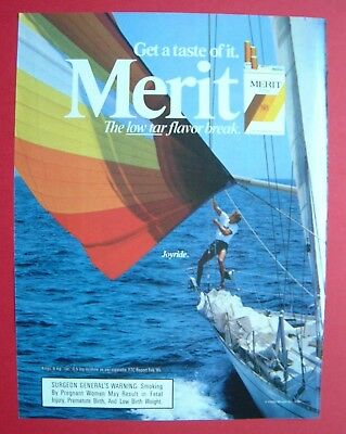 1986 Merit Cigarette - The low tar flavor break. Color AD