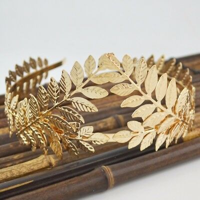 Elegant Baroque Gold Silver Metal Leaves Hairband Headpiece Crown Tiaras with Fo