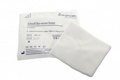 5 x 5 Pk Synergyhealth Non Woven Sterile 4PLY 10cm x 10cm Absorbent Gauze Swabs