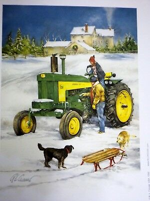 JOHN DEERE TRACTOR ART by RAY CROUSE - SLEIGH RIDE w/ DADDY - SIGNED PRINT ONLY