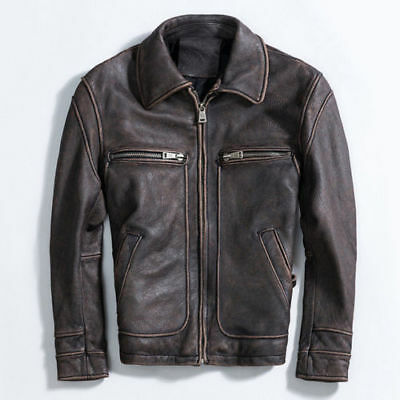 Vintage Classic Distressed Mens Terminator Brando Motorcycle Real Leather Jacket