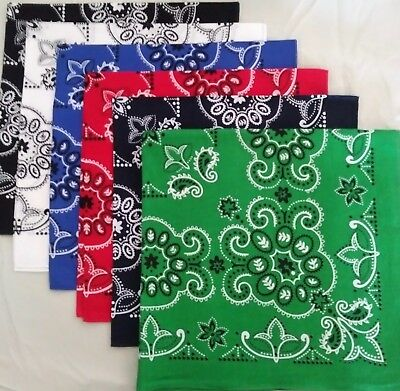 "6 BANDANAS - EXTRA LARGE 27"" -  TEXAS BIKER HEAD WRAP - COTTON - USA Seller"