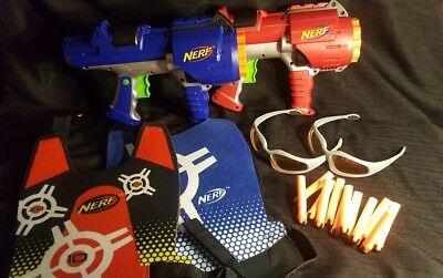Lot of Nerf Dart Tag guns, vests, glasses, darts- NERF GUN