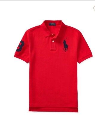 Ralph Lauren (POLO)-2- BABY BOYS TENNIS TAIL RED/BLUE COTTON POLO-9 MONTHS