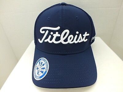 Titleist Golf Dobby Tech Lightweight Fitted Hat Cap BLUE WHITE M L NEW 8d8c935d24f