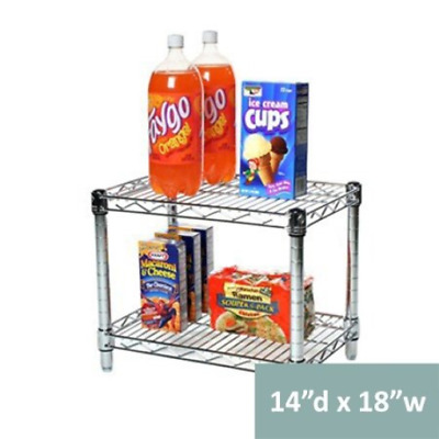 "14""d x 18""w Chrome Wire Shelving with 2 Shelves"
