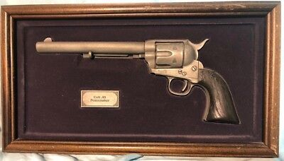 Colt .45 Peacemaker model Replica Gun Wood Frame The Franklin Mint