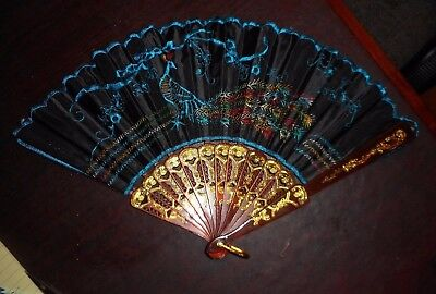 Beautiful Vintage Cobalt Blue Fabric Chinese Fan w Sewn Peacock Designs