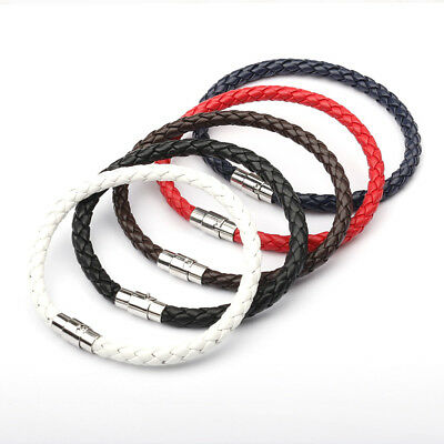 Mens Leather Braided Wristband Bracelet Stainless Steel Magnetic Clasp Bracelet