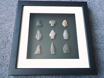 Native American Arrowheads in 3D Picture Frame, Authentic Artifacts (W020)