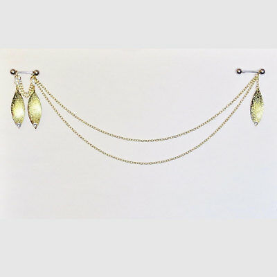 Pierced Nipple Double Chain Swag with Sparkling Charm Dangles Under The Hoode