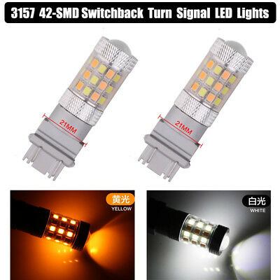 2x 3157 Switchback Turn Signal LED Light T25 Dual Color White/Amber DRL Bulbs