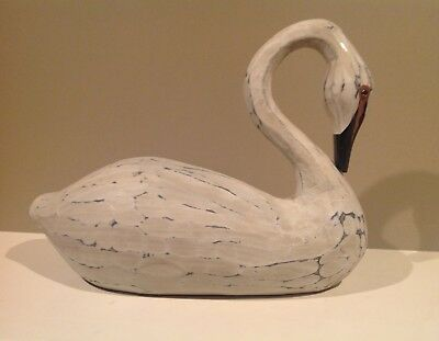 Large White Carved Resin Bent Neck Goose Swan Primitive Figurine