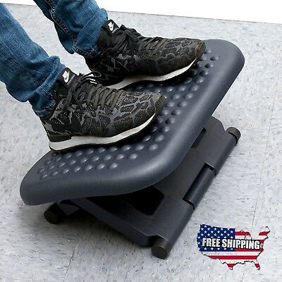 Foot Rest Under Desk Office Ergonomic Adjustable Height Comfort Portable Black