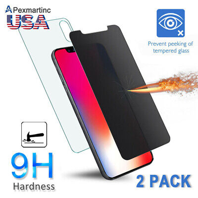 Apple iPhone 11 Pro Max XR 8 7 Plus Front + Back Tempered Glass Screen Protector