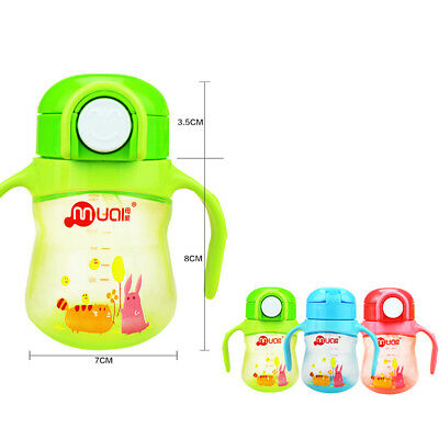 Toddler Baby Kids Children Feeding Drinking Water Straw Bottle Sippy Suction Cup