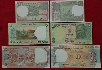 Indian Paper Money  1&5&10 Rupees Unc In Excellent Condition