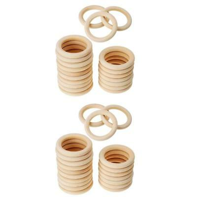 40pcs Handmade Natural Wooden Unfinished Baby Teether Teething Ring DIY Toy