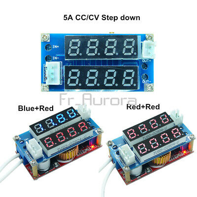 Blue/Red 5A CC/CV Adjustable Step Down Charge LED Panel Voltmeter Ammeter Module