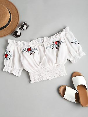 Sexy Women Embroidered Smocked Top T-shirt Crop Top Shirt Blouse Sleeveless