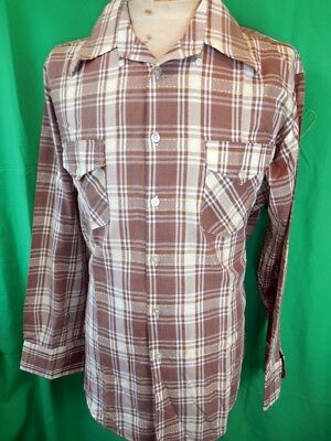Vintage 60s 70s Brown Cream Plaid St Charles Soft Poly/Cotton Dress Shirt OS XL