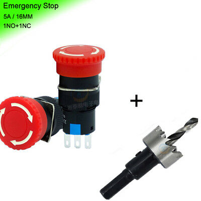 5A/250V Mini 16mm Emergency Stop Push Button Switch NO+NC Red + Hole Saw Cutter