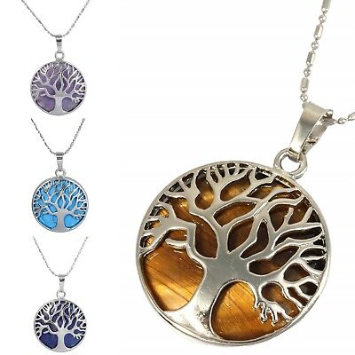 Alloy Wrapped Tree of Life Crystal Gem Pendant Fit Necklace Healing Reiki Charms