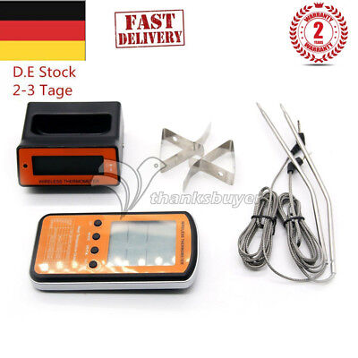 Wireless LCD Remote 2 Probe Meat Thermometer For BBQ Smoker Grill Oven EU