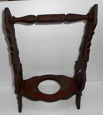 """India Vintage wooden wood water Clay pot """"Surahi"""" stand handmade.m1111"""