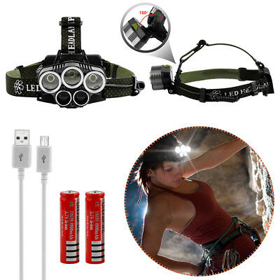 20000LM Lumens 5x XM-L CREE T6 LED Rechargeable Head Torch Headlamp Lamp Light %