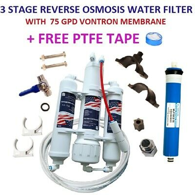 3 Stage Reverse Osmosis RO Water Filter Marine/Tropical Fish 75GPD Membrane