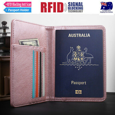 Travel Wallet RFID Blocking Anti Scan Long Passport Holder Synthetic Leather AU