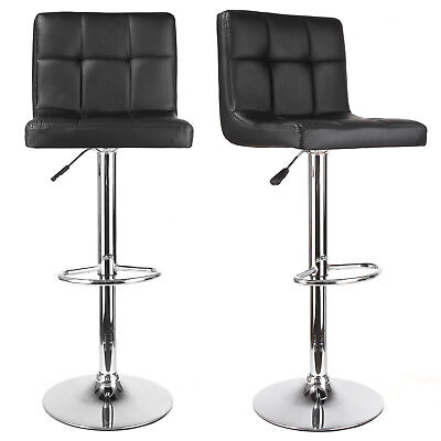 2X Leather Kitchen Breakfast Bar Stool Chrome Base Swivel Pub Footrest Barstools