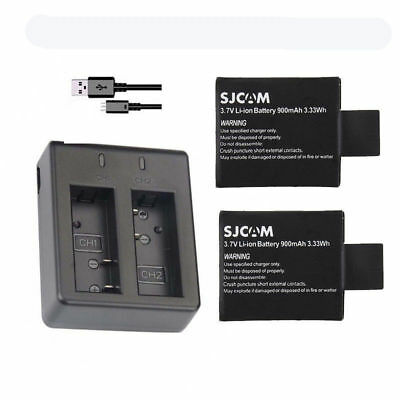 Original 2x 900mAh SJCAM SJ4000 Battery + Dual Travel Charger + Cable For SJ5000