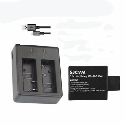 Original 900mAh SJCAM SJ4000 Battery + Dual Travel Charger + Cable For SJ5000