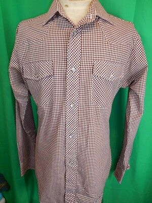 Vintage 1970s Brown Checked Poly/Cotton Target Label Western Cowboy Shirt 38/39