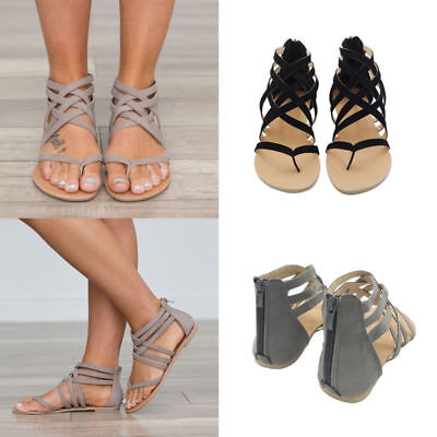 New Womens Low Flat Heel Ladies Zip Back Gladiator Sandals Flip Flops Shoes Size