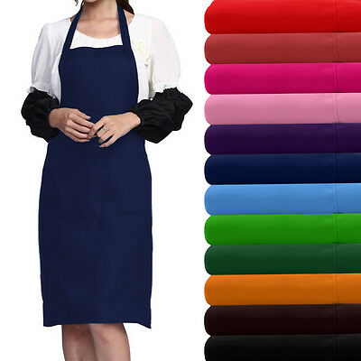 Plain Apron With Front Pocket For Chefs Butchers Kitchen Cooking Craft Baking