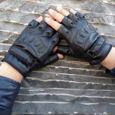 Leather Climbin Driving Gloves Finger Less Cycling Gym Wheelchair Weight Lifting